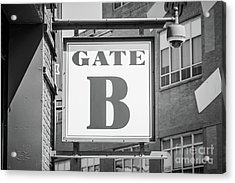 Fenway Park Gate B Sign Black And White Photo Acrylic Print by Paul Velgos