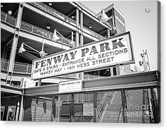 Fenway Park Gate D Black And White Photo Acrylic Print by Paul Velgos