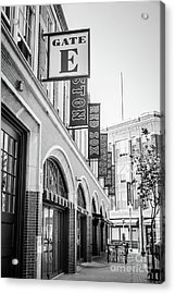 Fenway Park Gate E Entrance Black And White Photo Acrylic Print by Paul Velgos