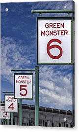 Fenway Park Green Monster Section Signs Acrylic Print by Susan Candelario