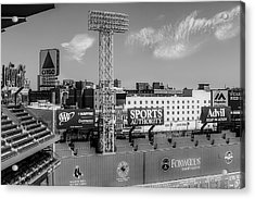 Fenway Park Green Monster Wall Bw Acrylic Print by Susan Candelario