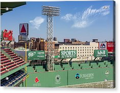 Fenway Park Green Monster Wall Acrylic Print by Susan Candelario