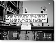 Fenway Park Sign Black And White Photo Acrylic Print by Paul Velgos