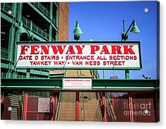 Fenway Park Sign Gate D Entrance Photo Acrylic Print by Paul Velgos