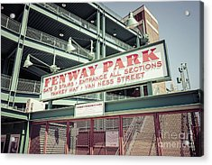 Fenway Park Sign Gate D Retro Photo Acrylic Print by Paul Velgos