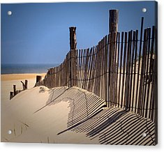 Fenwick Dune Fence And Shadows Acrylic Print