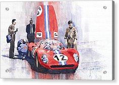 Ferrari 206 Sp Dino 1966 Nurburgring Pit Stop Acrylic Print by Yuriy  Shevchuk