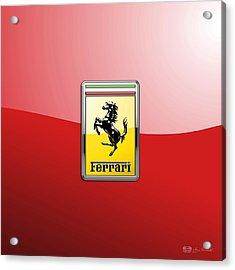 Ferrari 3d Badge-hood Ornament On Red Acrylic Print