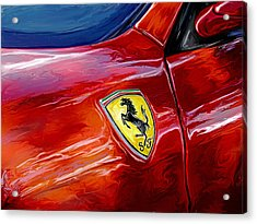 Ferrari Badge Acrylic Print by David Kyte