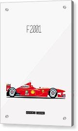 Ferrari F2001 F1 Poster Acrylic Print by Beautify My Walls