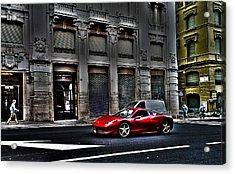 Ferrari In Rome Acrylic Print by Effezetaphoto Fz