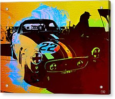 Ferrari Watercolor Acrylic Print by Naxart Studio