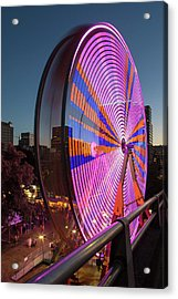Ferris Wheel At Fun Fair In Downtown Portland Oregon Acrylic Print