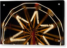 Ferris Wheel At Night Acrylic Print by Helen Northcott