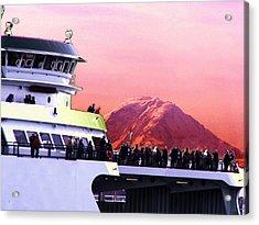 Ferry And Da Mountain Acrylic Print by Tim Allen