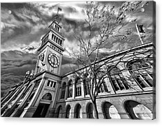 Ferry Building Black  White Acrylic Print