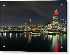 Ferry Terminal In Vancouver Bc At Night Acrylic Print