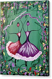 Acrylic Print featuring the painting Festive Dancers by Teresa Wing