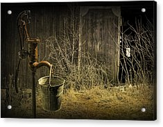 Fetching Water From The Old Pump Acrylic Print