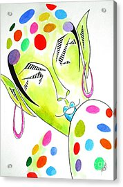 Fey -- The Original -- Fantasy Elf Portrait With Polka Dots Acrylic Print