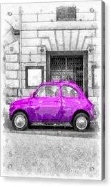 Fiat 500 Watercolor Acrylic Print