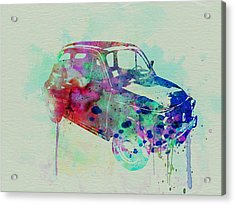 Fiat 500 Watercolor Acrylic Print by Naxart Studio