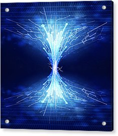 Fiber Optics And Circuit Board Acrylic Print by Setsiri Silapasuwanchai