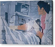 Fibroscopie 2005 Acrylic Print by Mohamed-Hosni Belkorchi