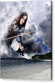 Fiddling Up A Storm Acrylic Print by Julie L Hoddinott