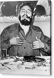 Fidel Castro In New York Acrylic Print by Underwood Archives