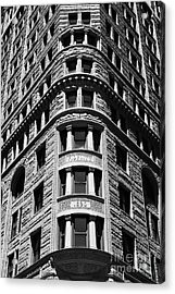 Fidelity Building Facade In Black And White Baltimore Acrylic Print