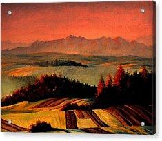 Field And Mountain Acrylic Print