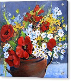 Acrylic Print featuring the painting Field Bouquet by Marta Styk