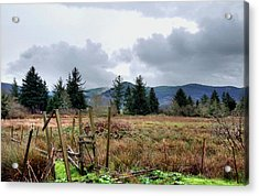 Acrylic Print featuring the photograph Field, Clouds, Distant Foggy Hills by Chriss Pagani