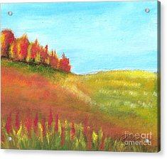 Field In Autumn Acrylic Print by Vivian  Mosley