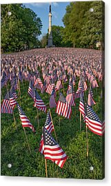 Field Of Flags At Boston's Soldiers And Sailors Monument Acrylic Print