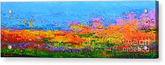 Abstract Field Of Wildflowers, Modern Art Palette Knife Acrylic Print