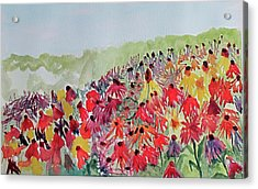 Acrylic Print featuring the painting Field Of Flowers by Sandy McIntire