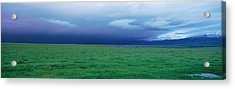 Field Of Grass Under Winter Storm Acrylic Print by Panoramic Images