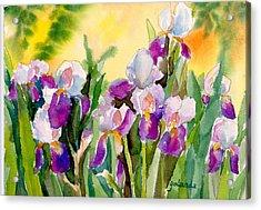 Acrylic Print featuring the painting Field Of Irises by Yolanda Koh