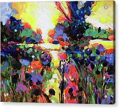 Field Of May Flowers At Dawn Acrylic Print