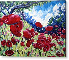 Field Of Poppies 02 Acrylic Print by Richard T Pranke