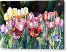 Acrylic Print featuring the painting Field Of Tulips by Yolanda Koh