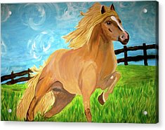 Acrylic Print featuring the painting Field Runner by Rebecca Wood