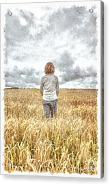Fields Of Gold Acrylic Print by Edward Fielding