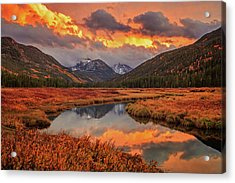 Acrylic Print featuring the photograph Fiery Bear River Sunset by Johnny Adolphson