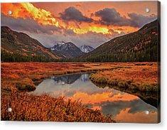 Fiery Bear River Sunset Acrylic Print by Johnny Adolphson
