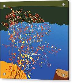 Fiery Bush Acrylic Print by Marian Federspiel