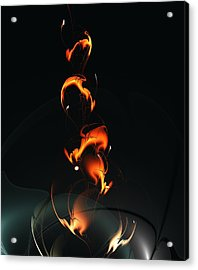 Acrylic Print featuring the digital art Fiery Flower by Anastasiya Malakhova