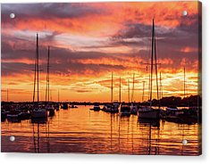 Fiery Lake Norman Sunset Acrylic Print by Serge Skiba